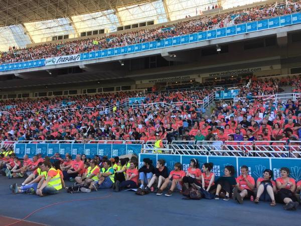 Estadio anoeta san sebastian le 21 juin 2015 avec anne etchegoyen